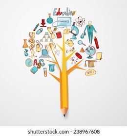 Education doodle concept with research science school icons on pencil tree vector illustration