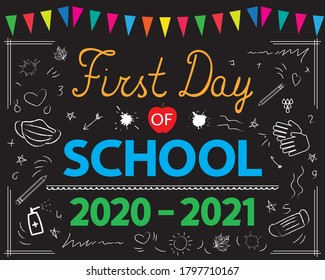 Education during a covid-19 pandemic. First Day of School 2020-2021 banner, card, poster, announcement, invitation. Black chalkboard sign printable. Back to school vector concept.