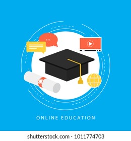 Education, e-learning, online courses, tutorials, online class, video training, university degree flat vector ilustration design for web banners and apps