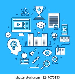 Education, elearning, online learning concepts line art. Modern graphics elements, outline symbols, thin line icons set for websites, web banners, mobile apps, infographics. Vector illustration