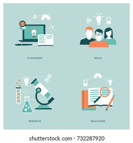 Education, e-learning, students and science concepts with icons