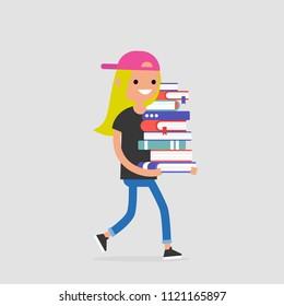 Education. Exam preparation. Smiling student holding a pile of books. Flat editable vector illustration, clip art