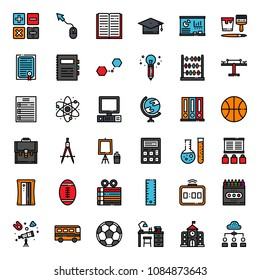 Education fill outline icon, subject and equipment, isolated on white background