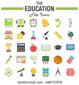 Education flat icon set, school symbols collection, knowledge vector sketches, logo illustrations, colorful solid pictograms package isolated on white background, eps 10.