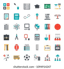 Education flat icon, subject and equipment, isolated on white background