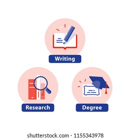 Education flat icons, study subject, university degree, graduation cap, PhD diploma, course certificate, writing, book research, vector illustration