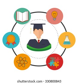 Education, graduation and academic trainning graphic design, vector illustration.