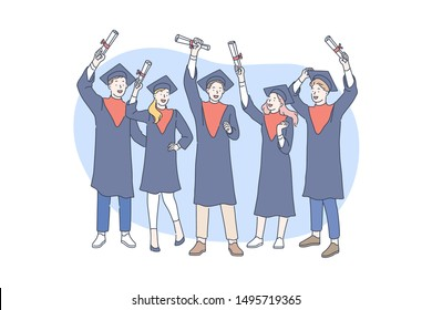 Education, graduation, awarding concept. Awarding successful graduate students in school or college with diplomas. Young graduates of the university received bachelors degrees. Simple flat vector.