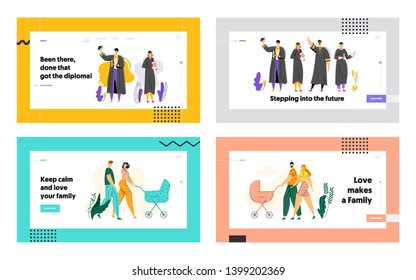 Education and Graduation Concept Landing Page. Happy Graduated Students with Diploma. Young Couple Walking with Baby Stroller Website Banner. Vector flat illustration