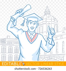 Education, graduation, gesture and people concept - happy student in mortarboard cap, bachelor gown with diploma showing thumbs up. Editable sketch in blue ink style. Hand drawn vector illustration.