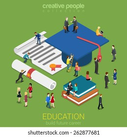 Education graduation license certificate flat 3d web isometric infographic concept vector. Micro people with big graduate cap books cert. Creative people collection.