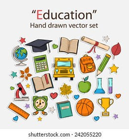Education hand drawn set.Scrapbook set.Sticker.With hat graduate,scroll, apple,books,flasks,basketball,alarm clock,briefcase, backpack, school bus,globe,ruler,microscope