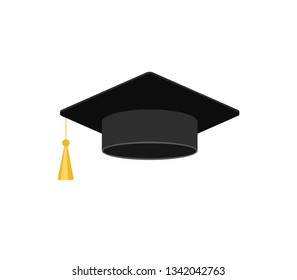 Education hat. Flat icon isolated on white. Graduation cap. Vector