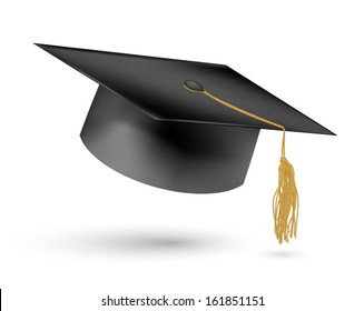 Education hat on White Background.