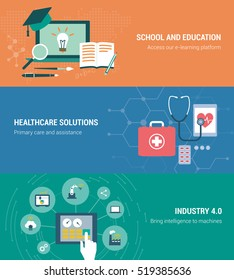 Education, healthcare and industry banners set with laptop and tablets