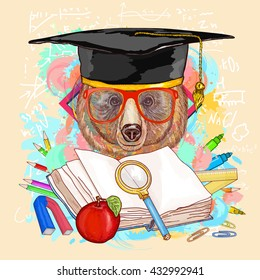 Education hipsters animals students bear goes to school vector illustration
