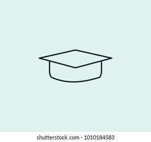 Education icon line isolated on clean background. Graduate hat concept drawing icon line in modern style. Vector illustration for your web site mobile logo app UI design.