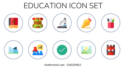 education icon set. 10 flat education icons.  Collection Of - book, museum, backpack, presentation, microscope, success, pen, background, pencil case