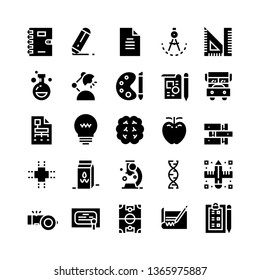 Education icon set. Set of 25 Glyph style icons such as pencil, book, microscope, ruler, and notebook. Suitable for education, university, college theme - Vector Illustration