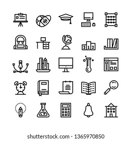 Education icon set, Set of 25 Outline style icons such as book, globe, sport, paper, bag. Suitable for education, university, college theme - Vector Illustration