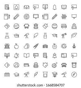 Education icon set. Collection of high quality outline web pictograms in modern flat style. Black Education symbol for web design and mobile app on white background. Line logo EPS10