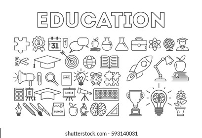Education icon set on white background. Golden cup, lightbulb, apple, book and more. Black and white.