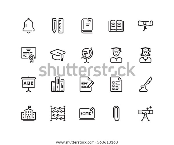 Education icon set, outline style