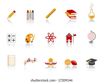 Education Icon Set - Red version