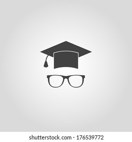 Education icon. Vector hat and glasses