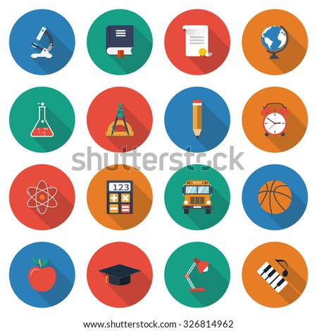 Education Icons Collection Elements Symbols Learning Stock Vector