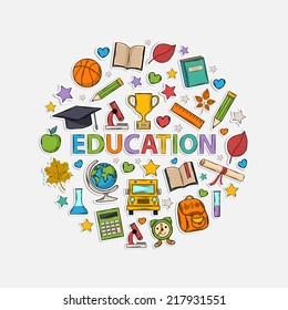 Education icons in the form of a circle.With:hat graduate,scroll, apple,books,alarm clock, briefcase, backpack,bus,globe,ruler,microscope