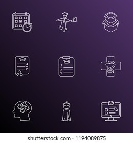 Education icons line style set with food container, online course, medicine and other planner elements. Isolated vector illustration education icons.