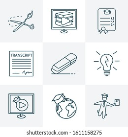 Education icons line style set with lightbulb, gpa, school transcript and other shears elements. Isolated vector illustration education icons.