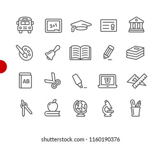 Education Icons // Red Point Series - Vector line icons for your digital or print projects.