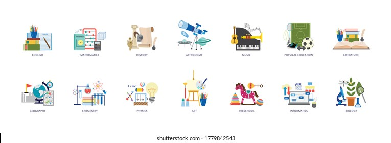 Education icons of school lesson subjects set of flat vector illustration isolated on white background. School and preschool classes symbols and signs bundle.