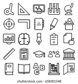 Education icons set. set of 25 education outline icons such as ruler, book, brain, paper and apple, clipboard, microscope, test tube, medical clipboard, dna, highlighter