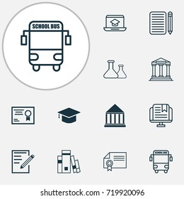 Education Icons Set. Collection Of Diploma, Distance Learning, Paper And Other Elements. Also Includes Symbols Such As Distance, Hat, Transport.
