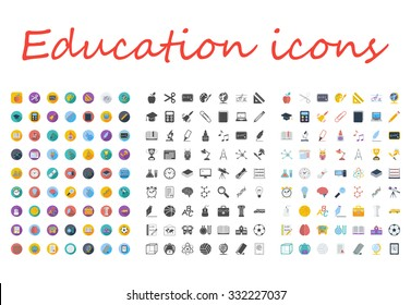 Education icons set. Flat vector related different styles icons set for web and mobile applications. It can be used as - logo, pictogram, icon, infographic element. Vector Illustration.