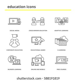 Education icons set: social media, adaptive and blended learning, corporate and cross-border education, educational games, e-learning, online and mobile, free courses