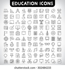 education icons set, thin line icons