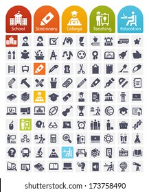 Education Icons set - transparent quality icons: school, stationery, college, teaching, education