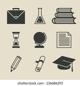 Education icons set - vector illustration