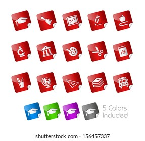 Education Icons // Stickers Series ---- It includes 5 color versions for each icon in different layers -----