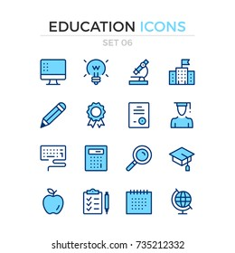 Education icons. Vector line icons set. Premium quality. Simple thin line design. Modern outline symbols, pictograms.