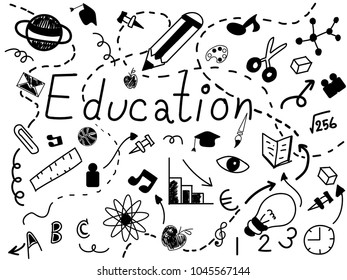Education Ideas doodles icon set.Vector Illustration.Education concept.