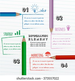 education infographic with colorful pencils drawing message on white paper.
