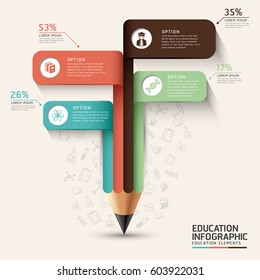 Education infographic concept. Pencil and bubble speech arrow template. can be used for workflow layout