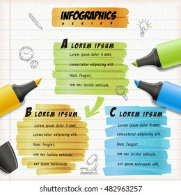 Education infographic design, colorful highlighter draw on notepaper