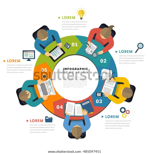 Education infographic flat design, top view of people around process chart and doing their own things