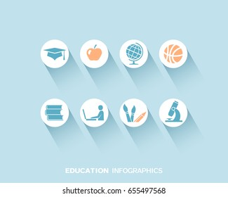 Education infographic with flat icons set. Vector illustration